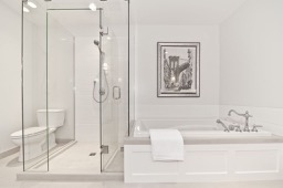 bathroom shower and bathtub by Stone Age Marble and Granite