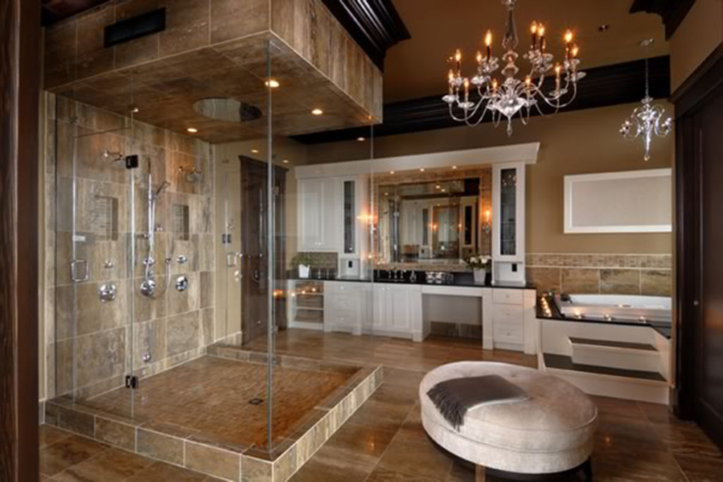 bathroom counter and shower by Stone Age Marble and Granite