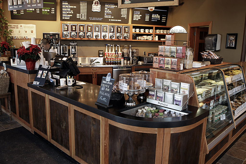 Coffee shop stone counter